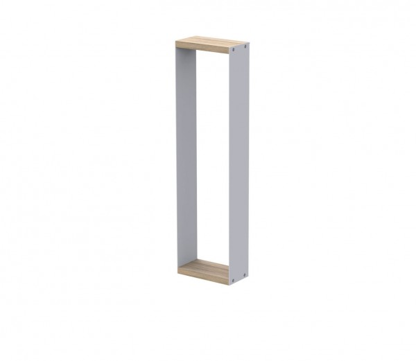 LINEAR Rahmen B, aus Aluminium, weiß pulverbeschichtet, sowie Top- und Bodenplatte aus beschichtetem
