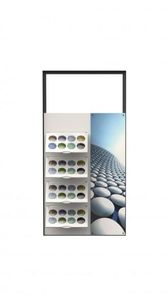 LL-WALL Glasberatung mit Tablaren für Mustergläser