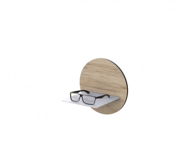 L-Ablage aus Aluminium, weiß pulverbeschichtet, mit Applikation, rund