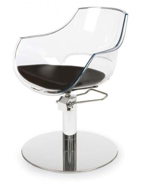 CLARA Friseurstuhl mit schwarzem Sitzkissen