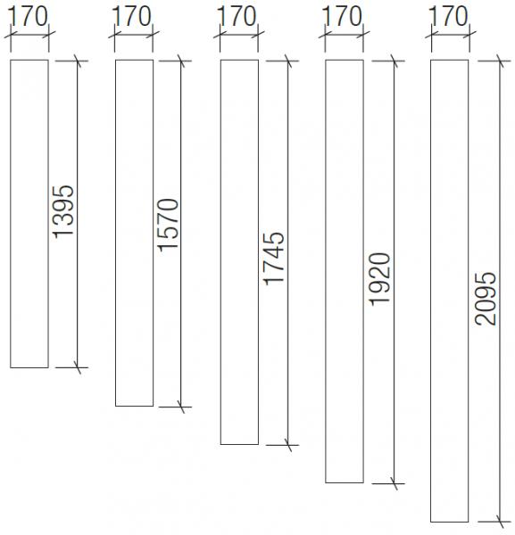 Spiegel für Montage auf Wand, Breite: 170 mm